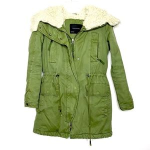 Zara Shearling Anorak Jacket M Olive Green Winter